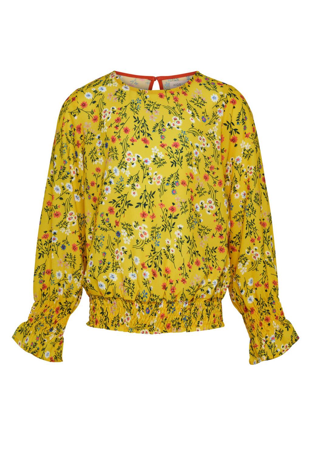 KIDSONLY geweven top Agnes met bloemendessin geel, Geel