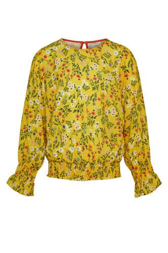 KIDSONLY geweven top Agnes met bloemendessin geel