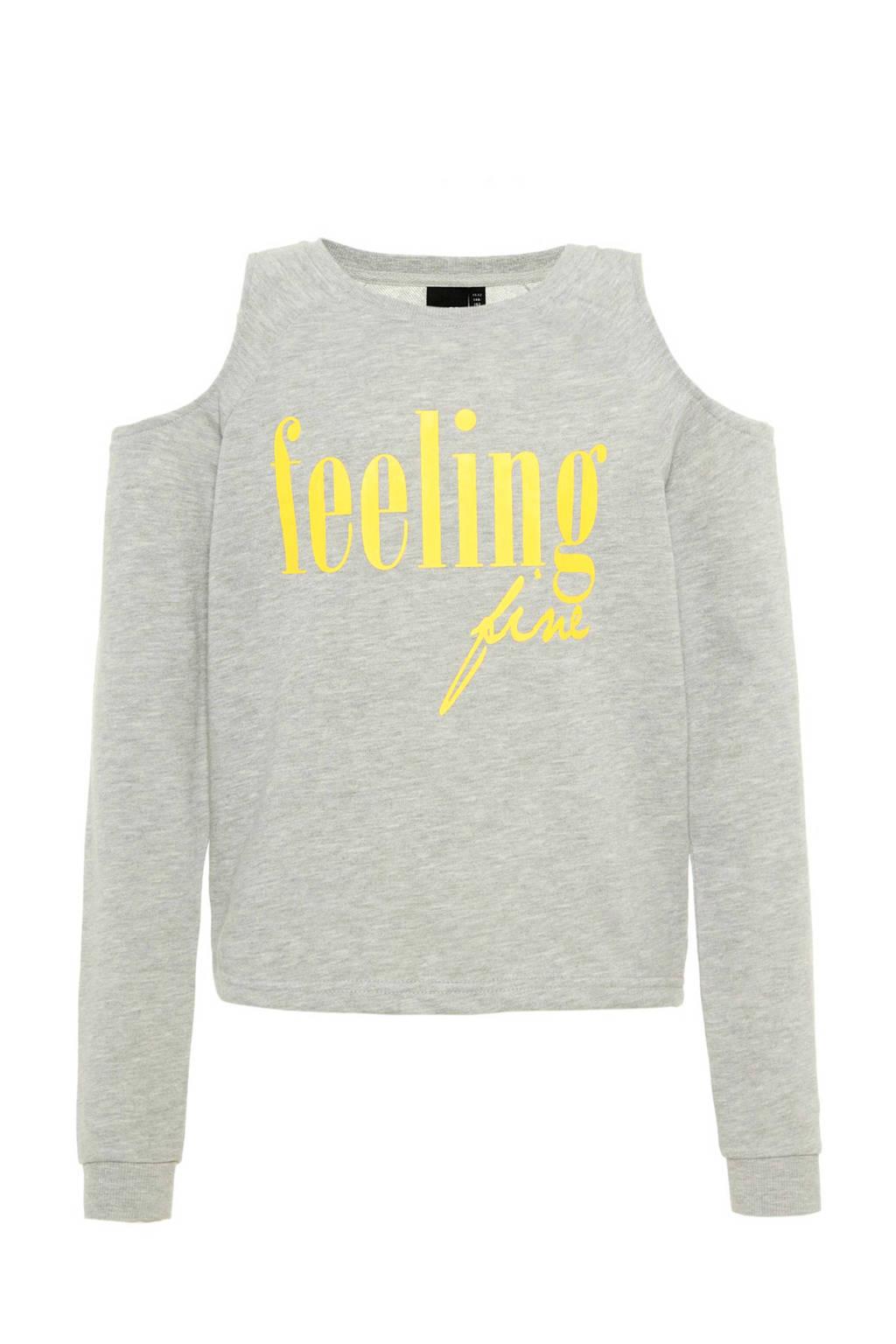 LMTD open shoulder sweater met tekst grijs melange, Grijs melange