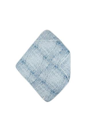 hydrofiel badcape fine lines blauw