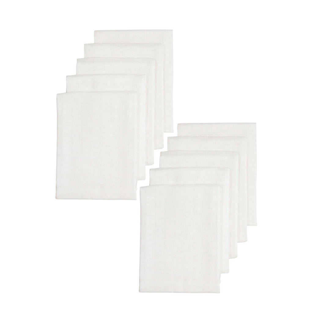 Meyco hydrofiele luiers 70x70 cm wit - set van 10, Wit