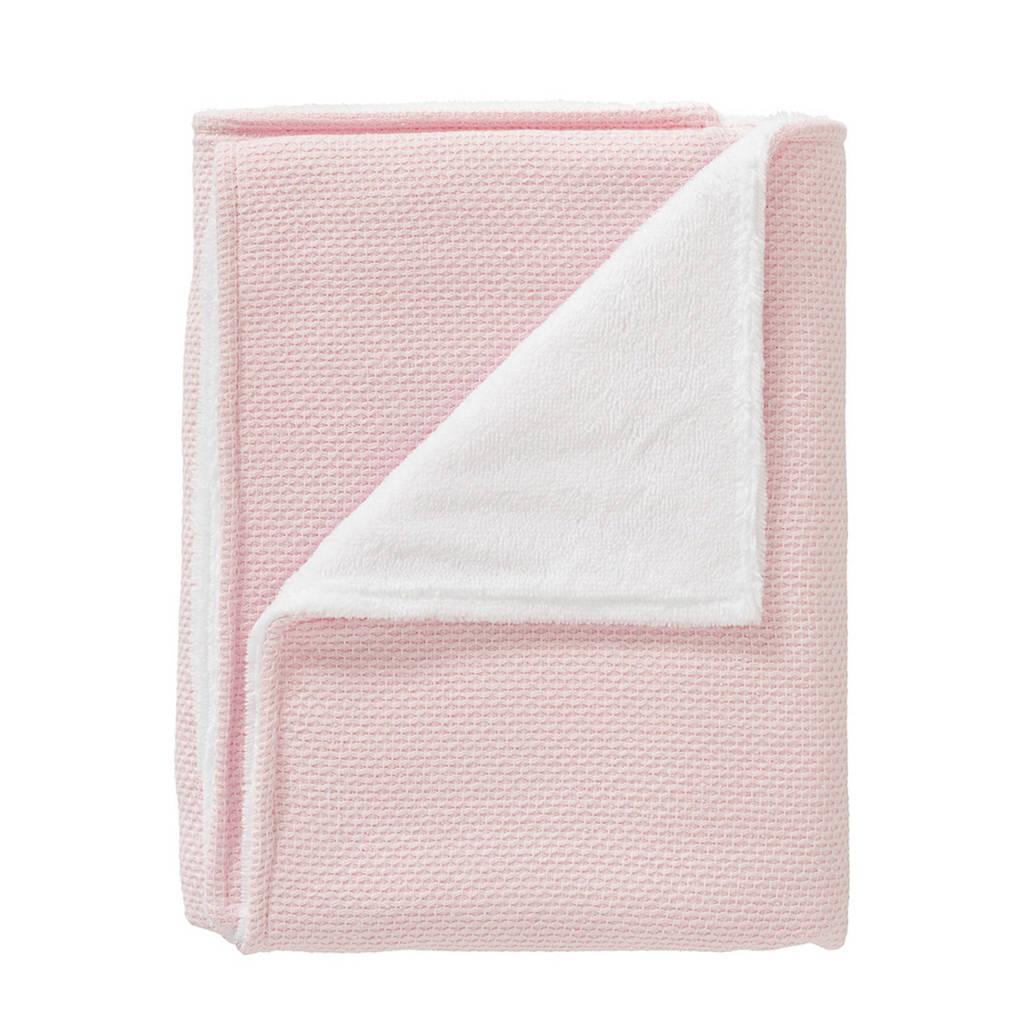 Cottonbaby baby wiegdeken gevoerd 75x90 cm roze, Roze/wit