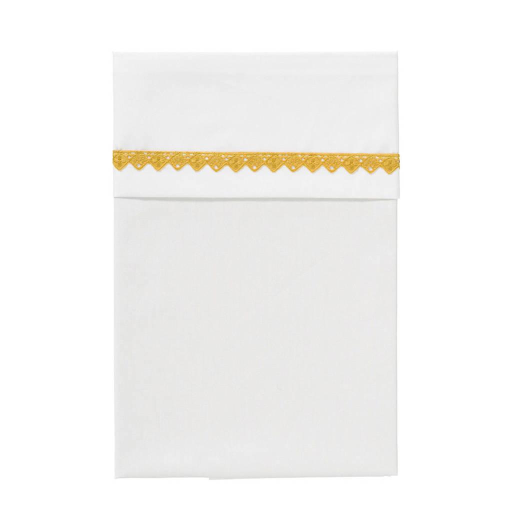 Cottonbaby broderiekant ledikantlaken 120 x 150 cm wit/okergeel, Wit/okergeel