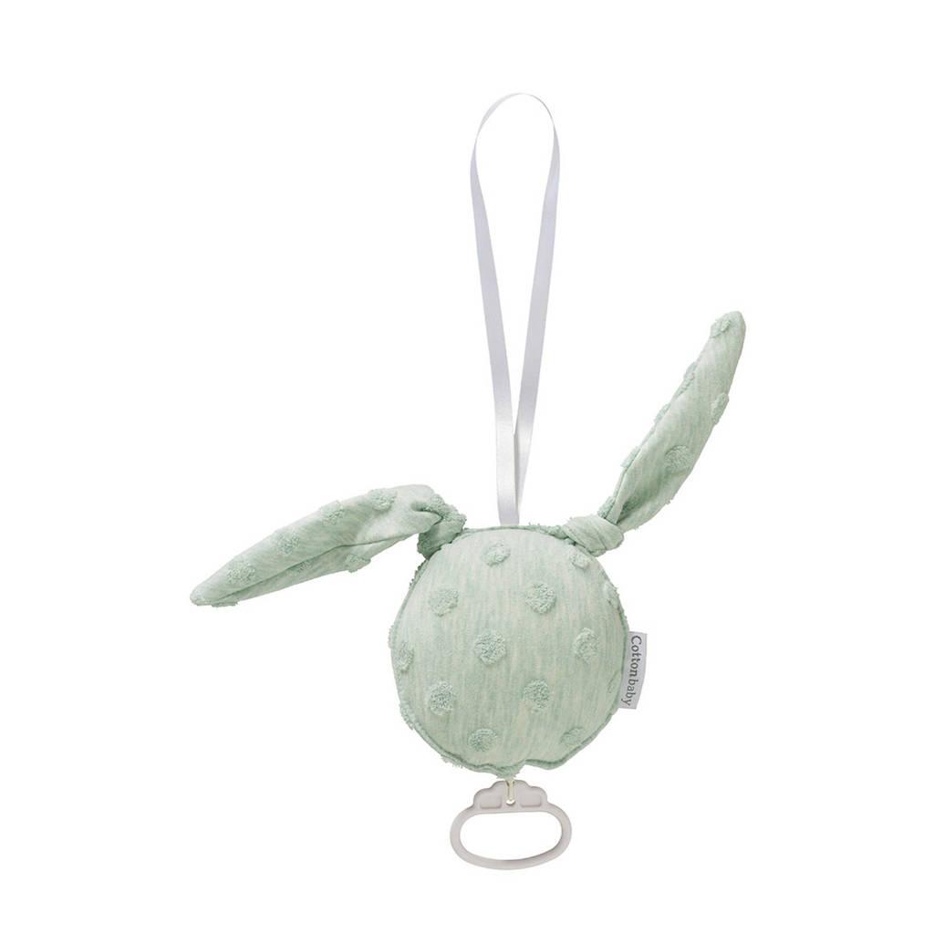 Cottonbaby konijn muziekdoosje dot groen, Groen