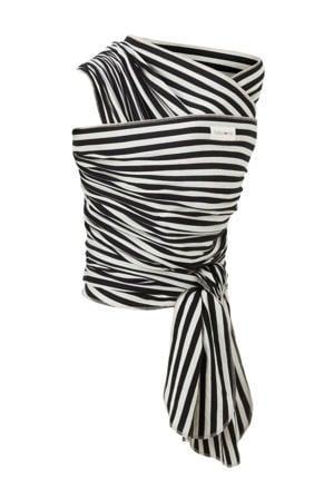 draagdoek tricot-slen bamboo zwart/wit streep