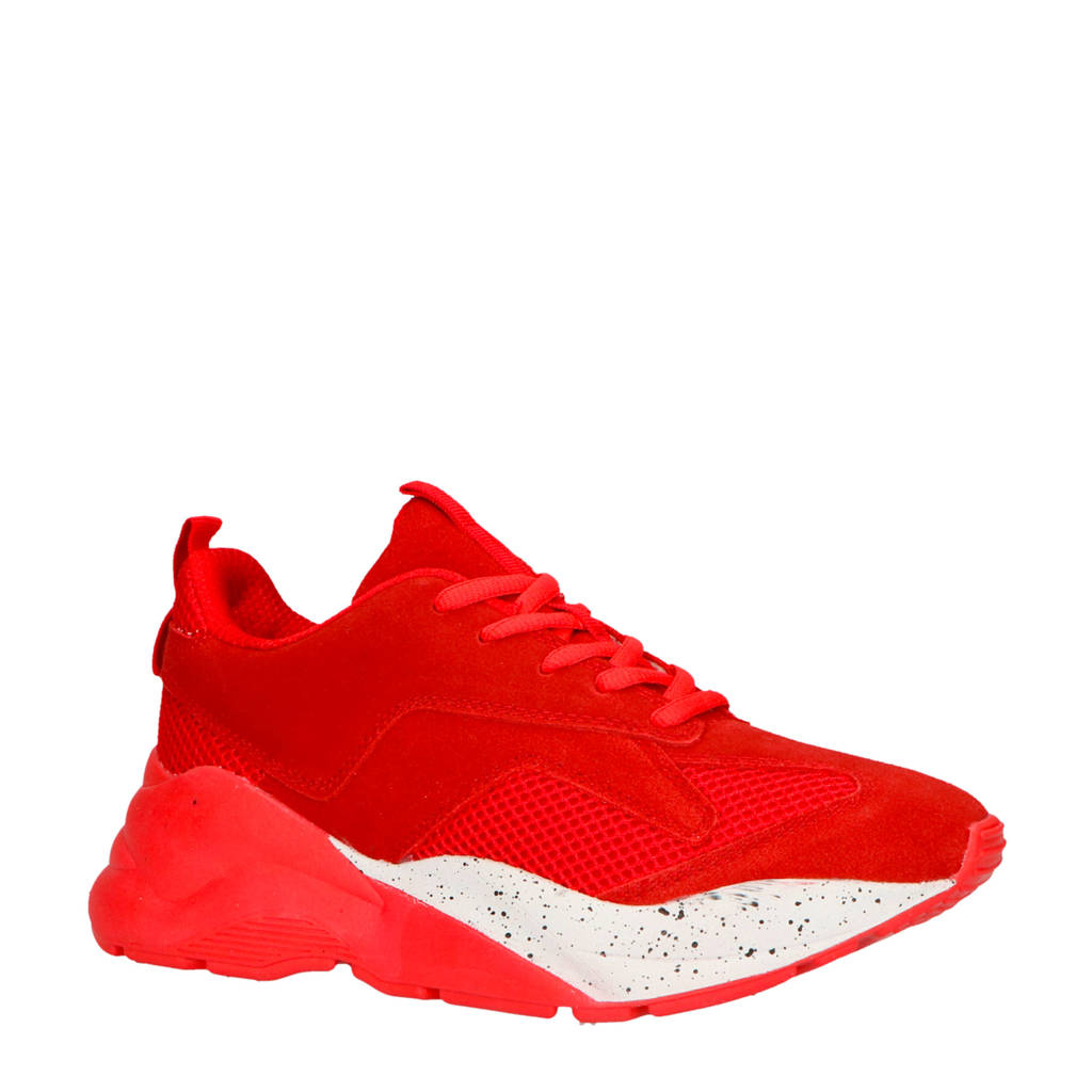 Bianco  suède sneakers rood, Rood/wit