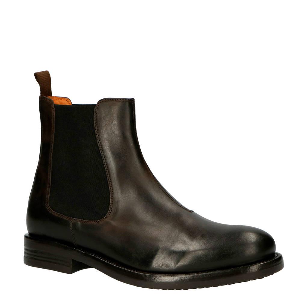 Bianco Ace leren chelsea boots donkerbruin, Donkerbruin/zwart