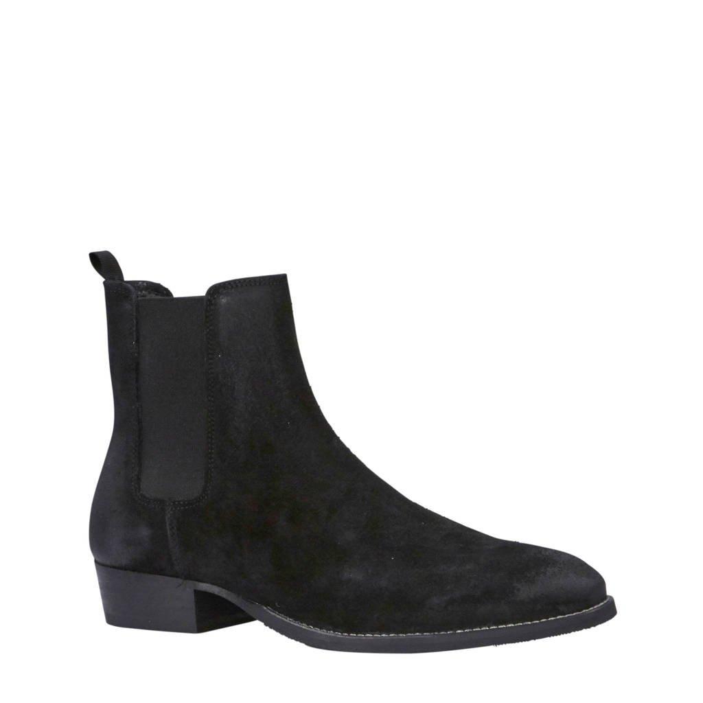 Bianco Beack leren chelsea boots zwart, Zwart