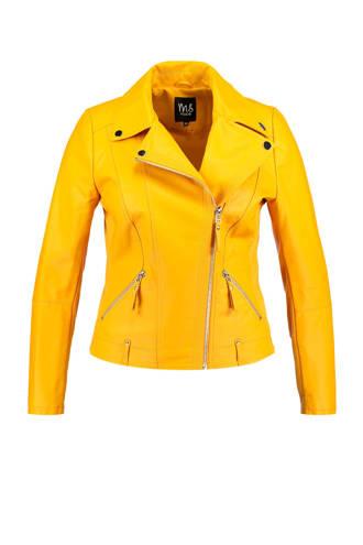 imitatieleren bikerjack geel