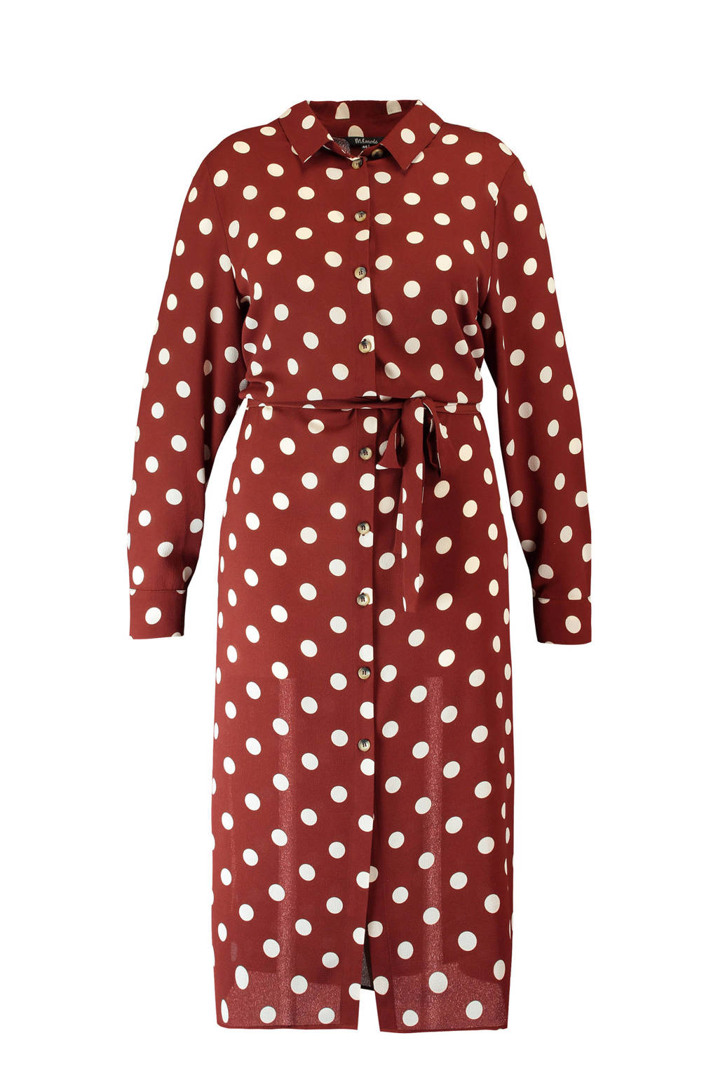 MS Mode jurk met stippenprint donkerbruin, Multi