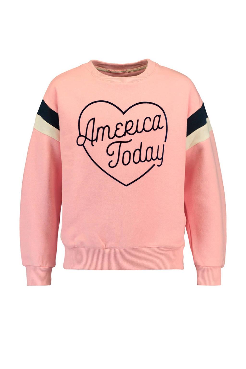 America Today Junior sweater Suze met logo roze, Roze