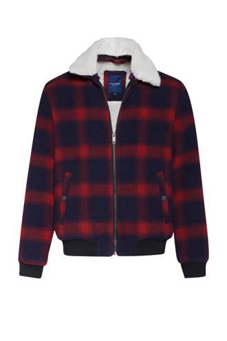 Blue Ridge geruite tussenjas met wol marine/rood