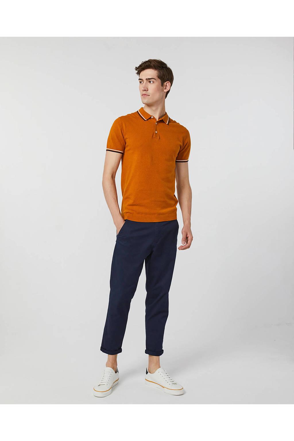 WE Fashion slim fit polo met contrastbies oranje, Oranje