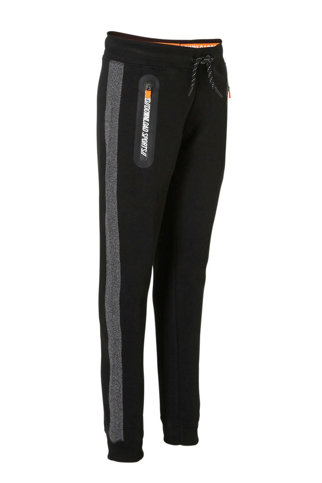 C&A Here & There   joggingbroek met zijstreep zwart, Zwart/grijs melange