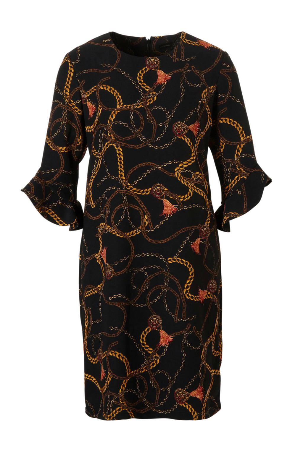 C&A YSS Shop jurk met kettingprint zwart/oker, Zwart/oker