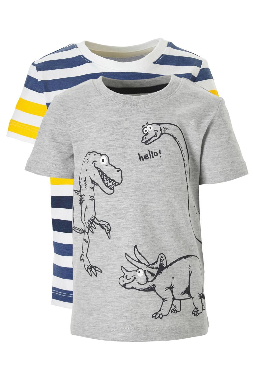 C&A Palomino T-shirt met dino's - set van 2, Grijs/geel/wit/blauw