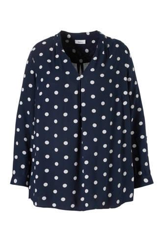 XL Yessica top met stippen donkerblauw/wit