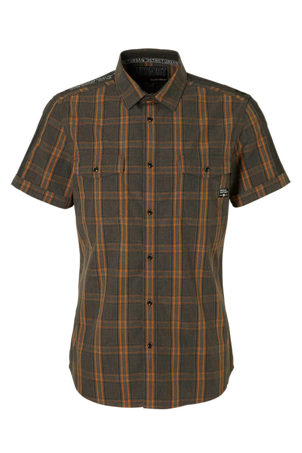 C&A Angelo Litrico geruit overhemd grijs, Grijs/oranje