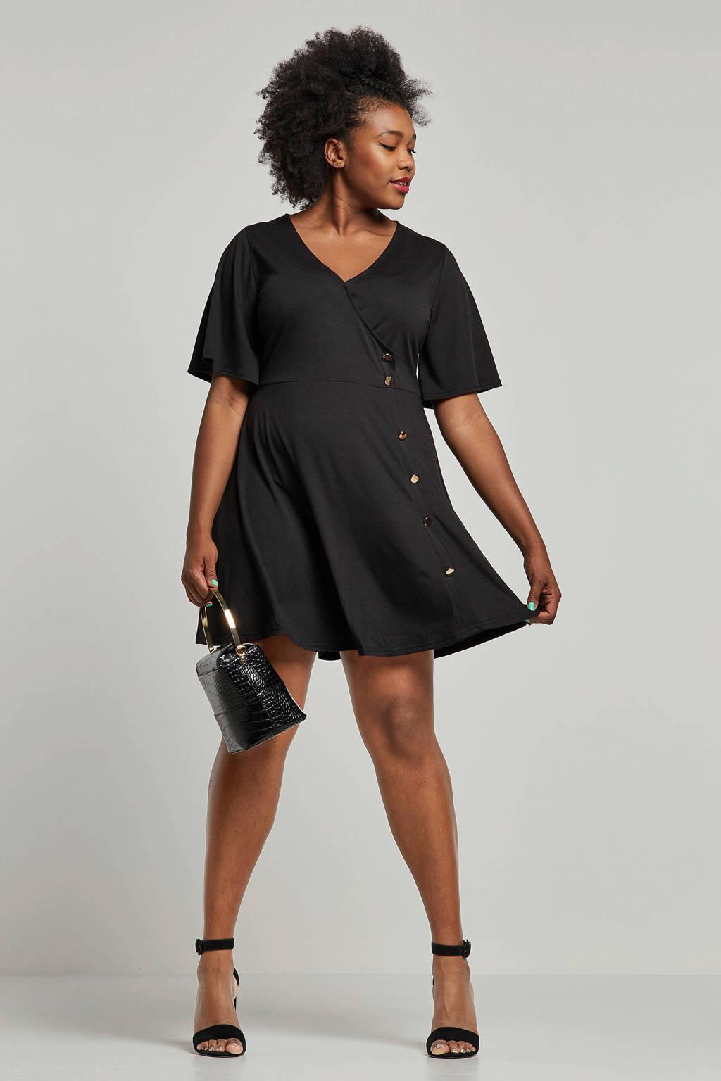 Simply Be jurk met overslag en knoopdetails, Zwart/goud