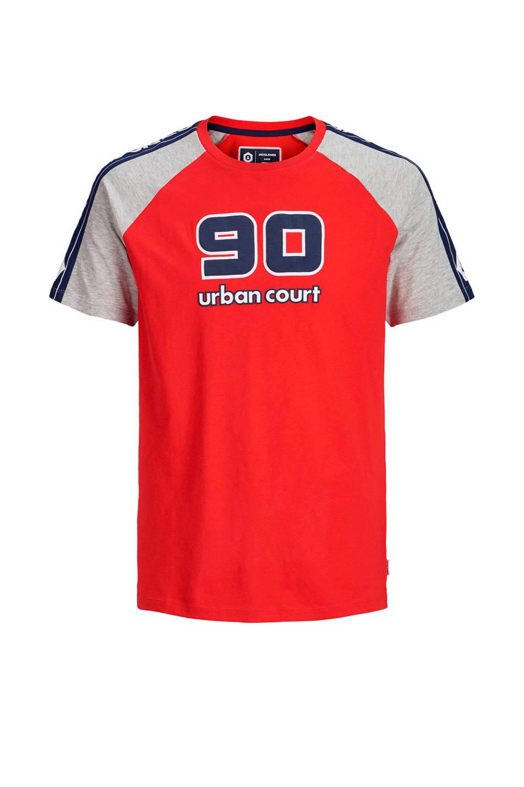 Jack & Jones Junior T-shirt Maxit met cijfers rood, Rood/ licht grijs melange