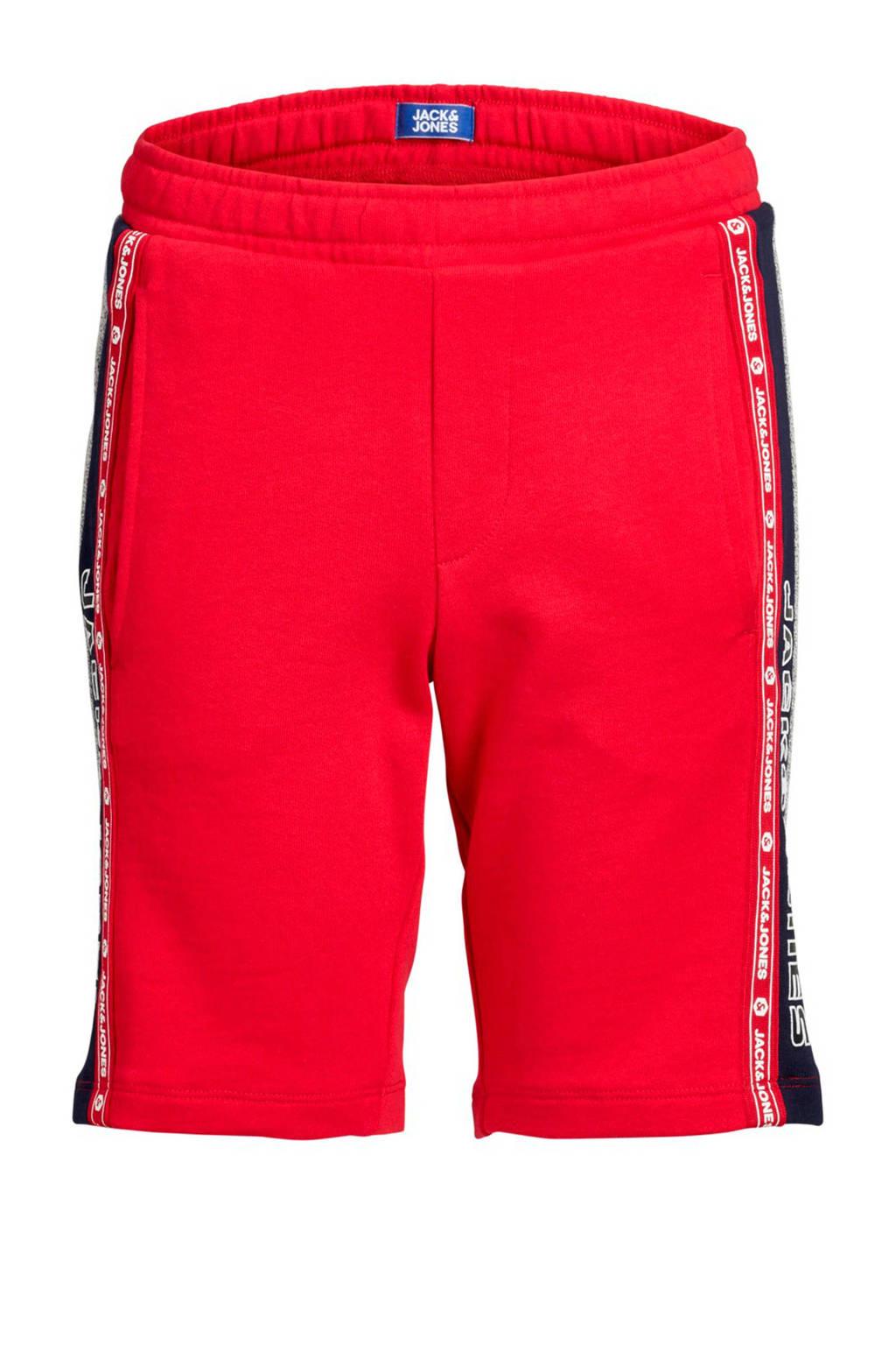 Jack & Jones Junior sweatshort Maxit met zijstreep rood, Rood