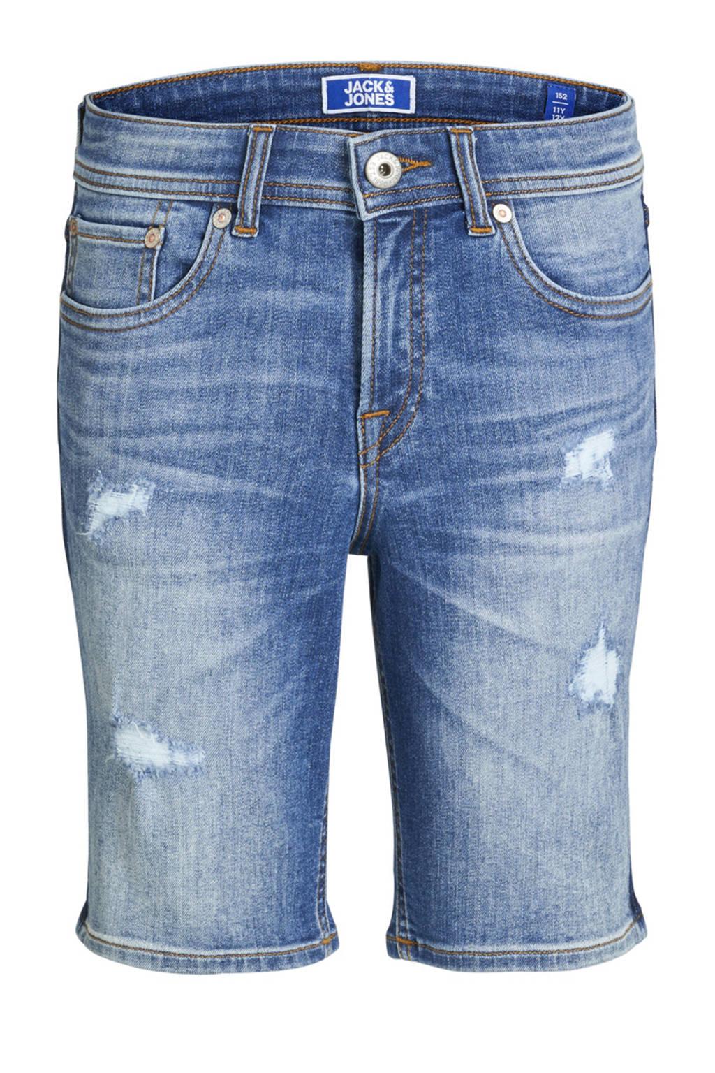 Jack & Jones Junior jeans bermuda Rick met slijtage details, Stonewashed