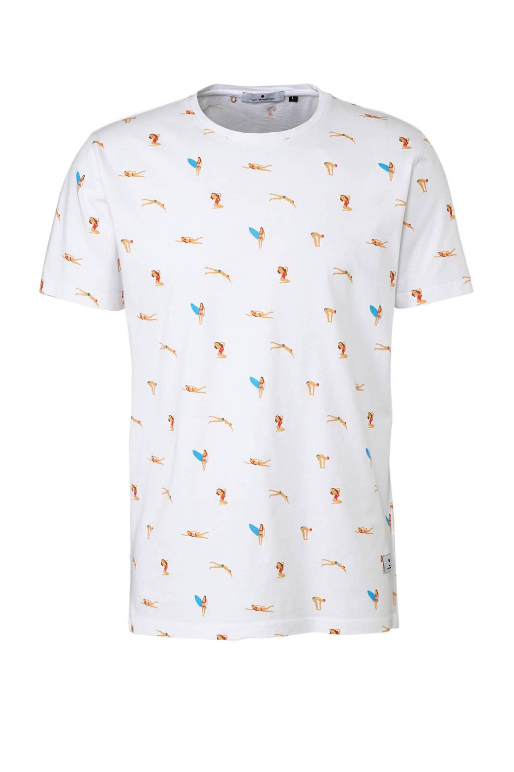 RVLT T-shirt met print wit, Wit