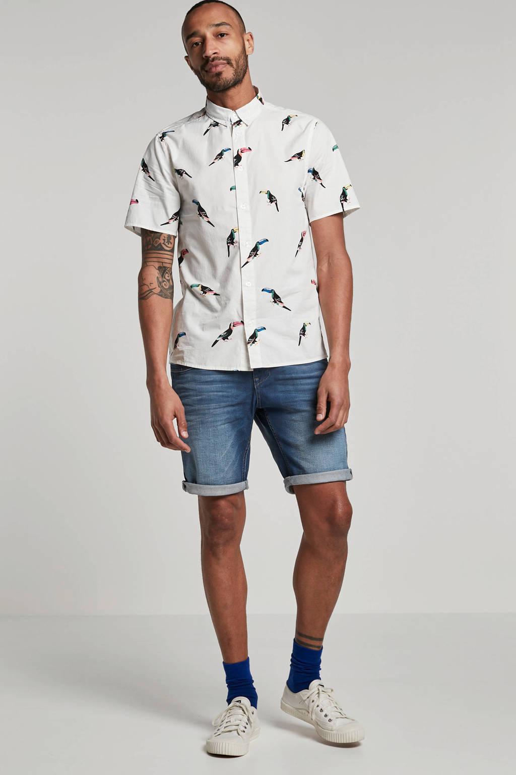 RVLT regular fit overhemd met print wit, Wit