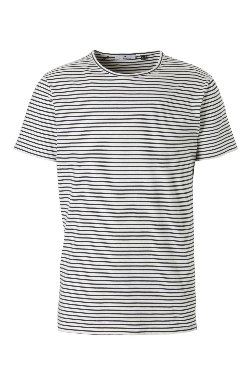 RVLT gestreept T-shirt wit, Wit/marine