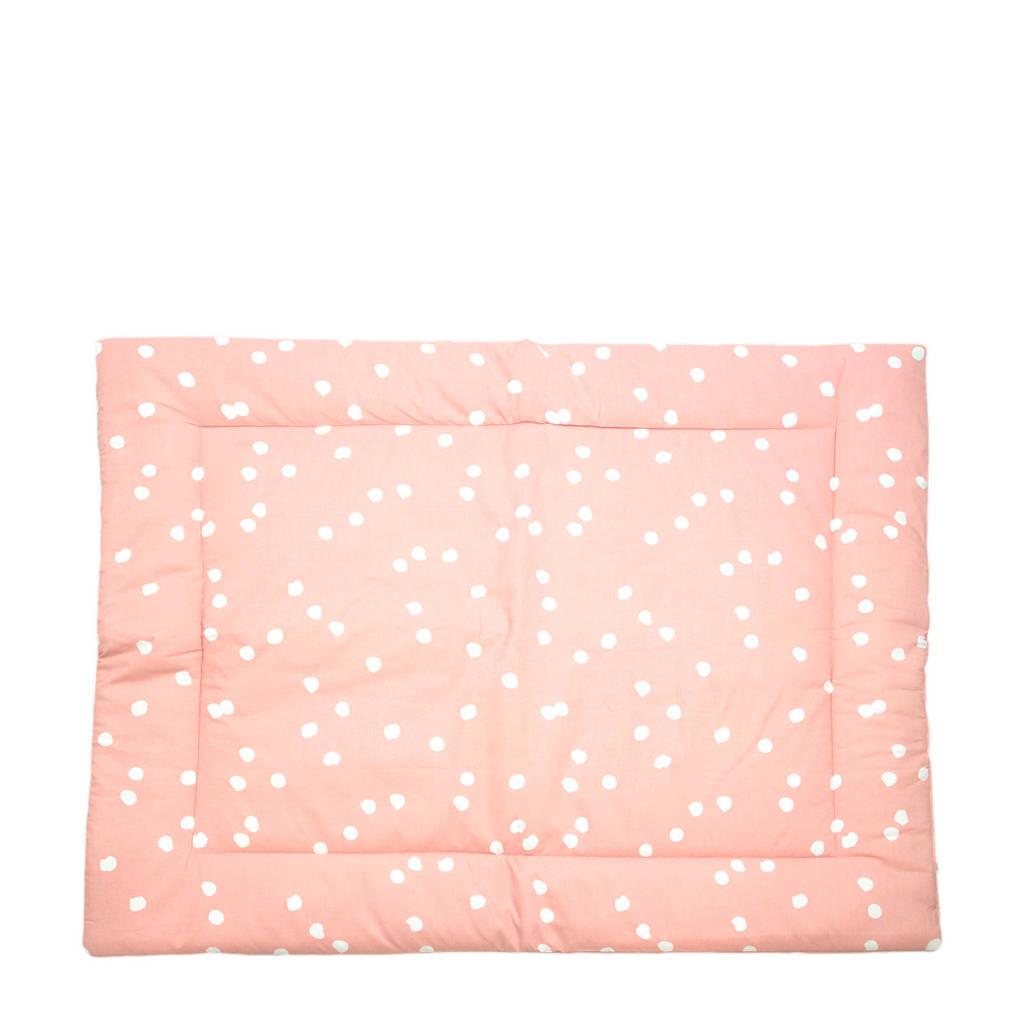 Briljant Baby boxkleed spots grey pink 80x100 cm, Roze