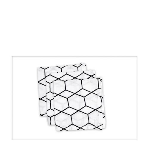 Briljant Baby hydrofiel monddoekje grid wit zwart - set van 3