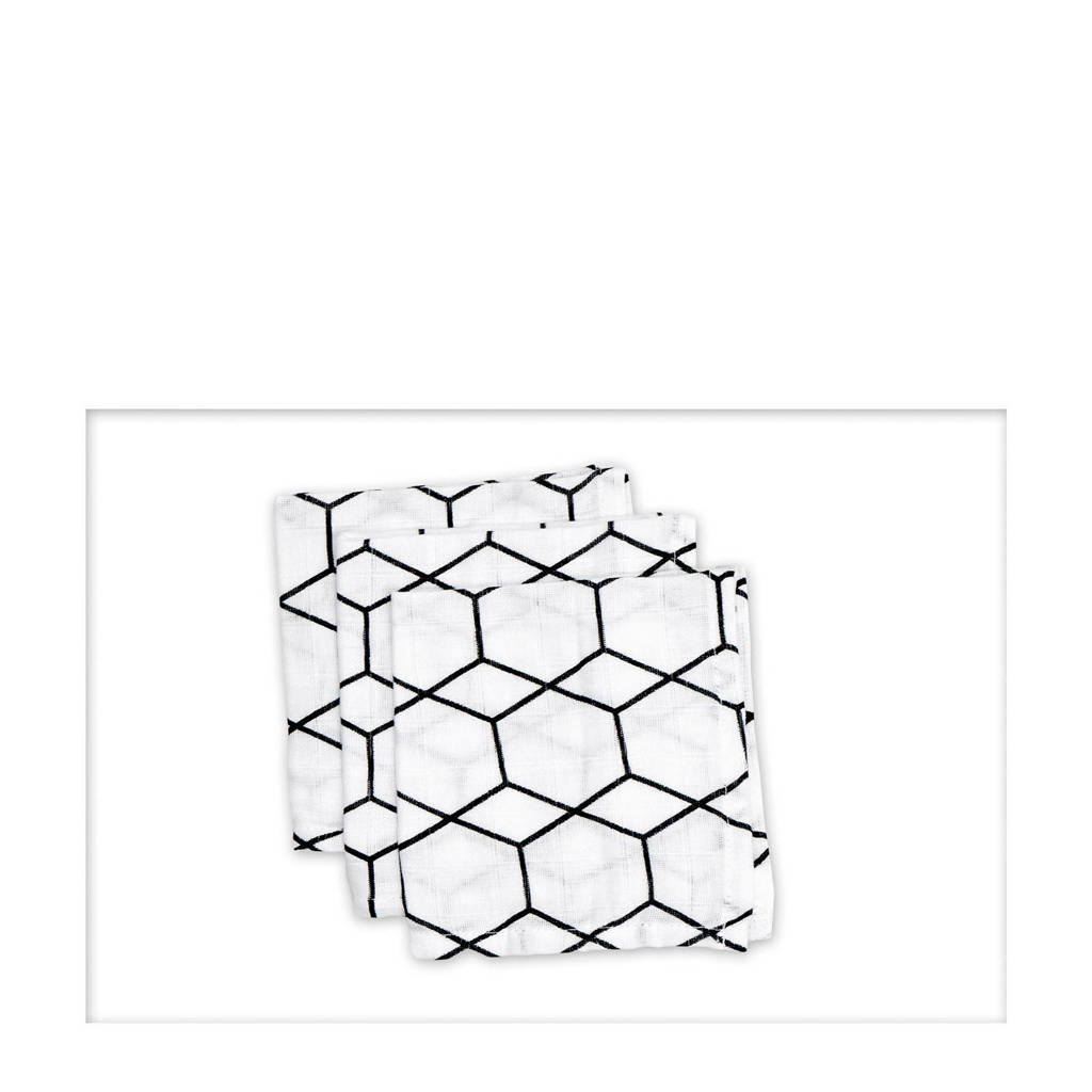 Briljant Baby hydrofiel monddoekje grid wit zwart - set van 3, Wit/zwart