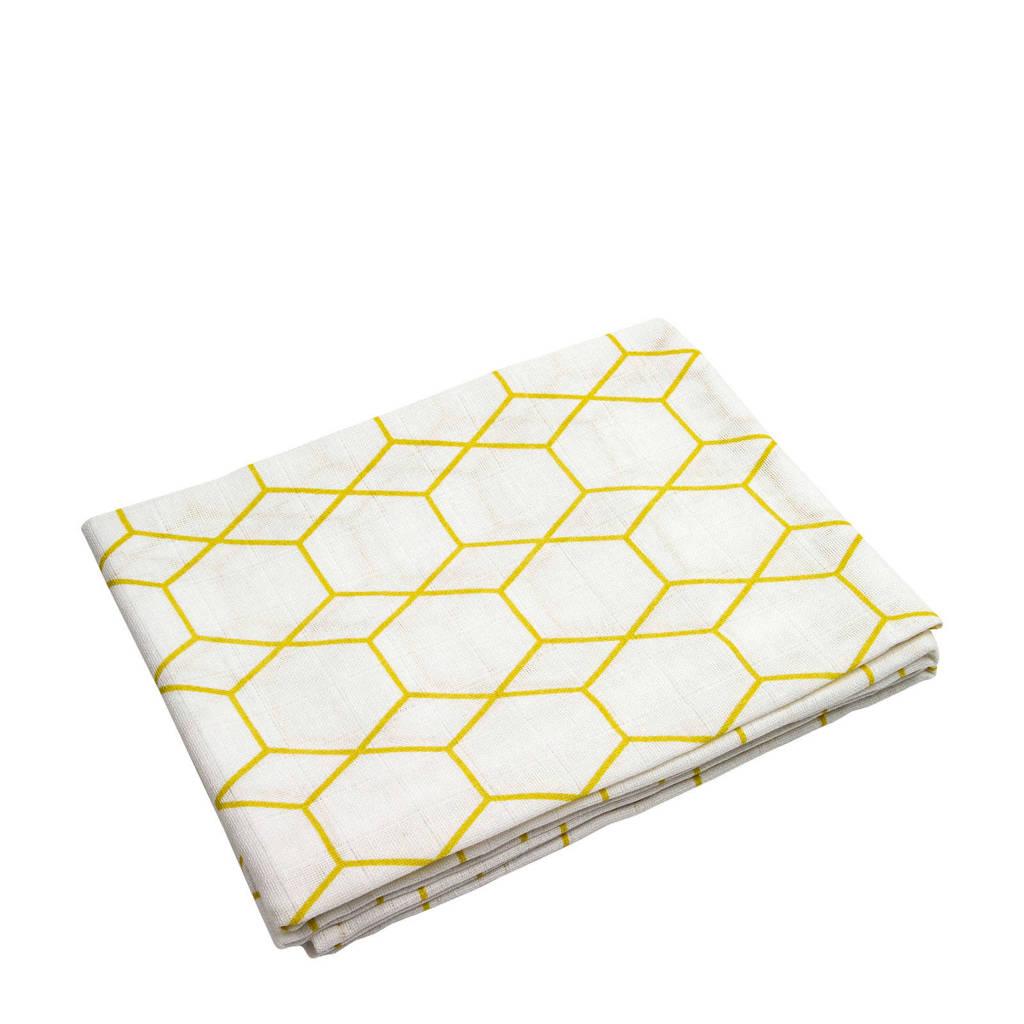 Briljant Baby hydrofiel luier grid ochre - set van 3, Wit/geel