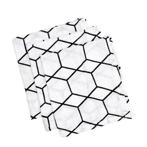 Briljant Baby hydrofiel washandje grid wit zwart - set van 3