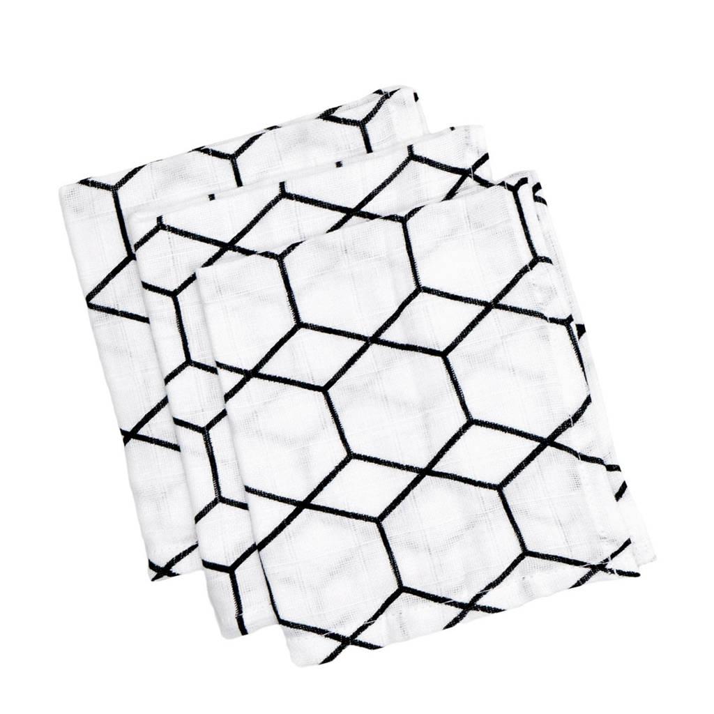 Briljant Baby hydrofiel washandje grid wit zwart - set van 3, Wit/zwart