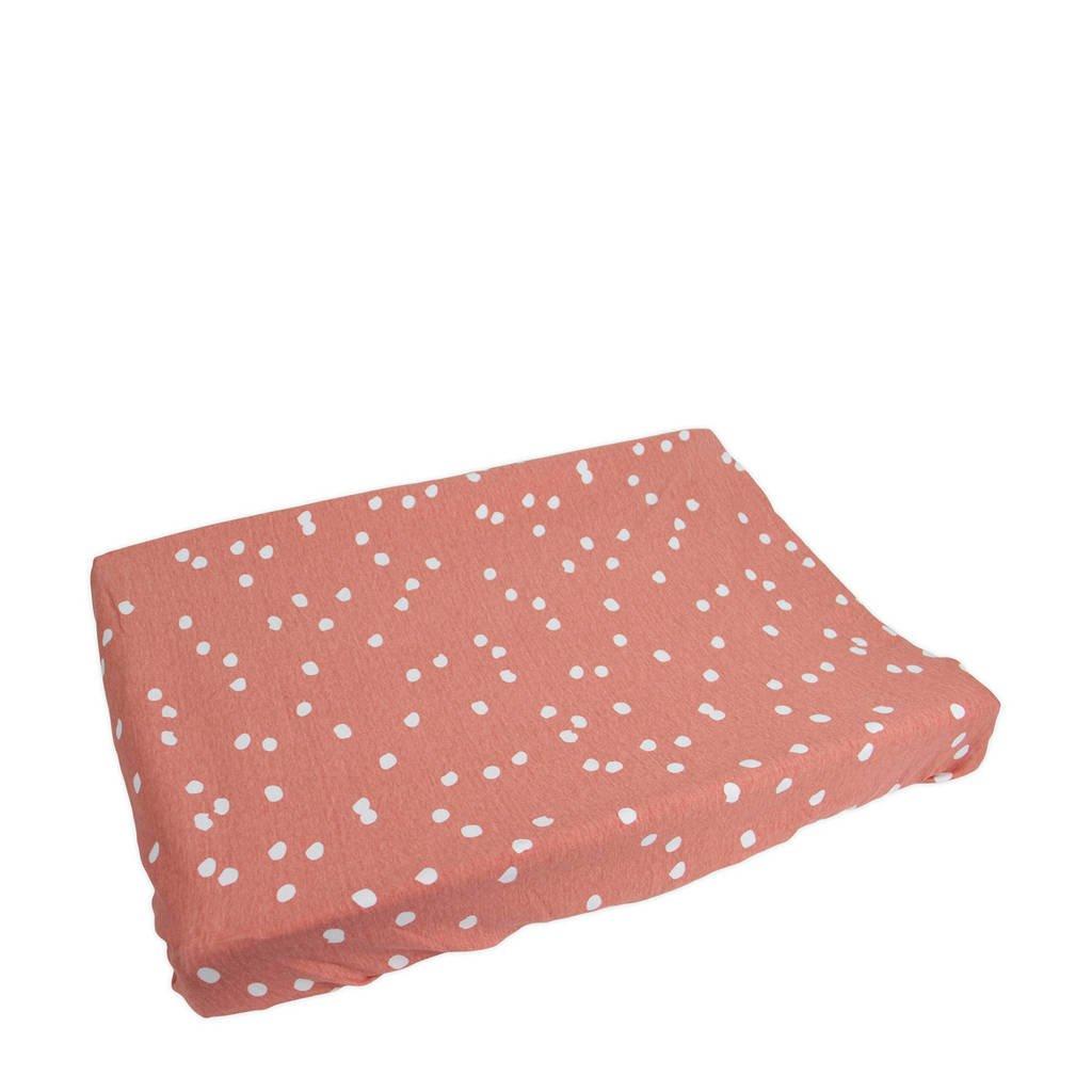 Briljant Baby aankleedkussenhoes spots grey pink met interlock, Roze