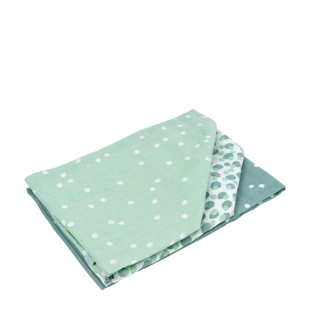 Briljant Baby hydrofiel luier 3x spots green, Groen