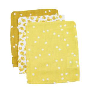 hydrofiel washandje spots ochre - set van 3