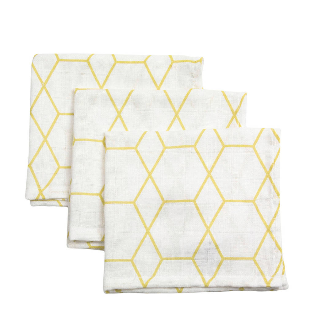 Briljant Baby hydrofiel monddoekje grid ochre - set van 3, Wit/geel
