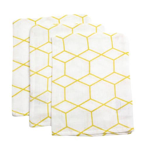 Briljant Baby hydrofiel washandje grid ochre - set van 3