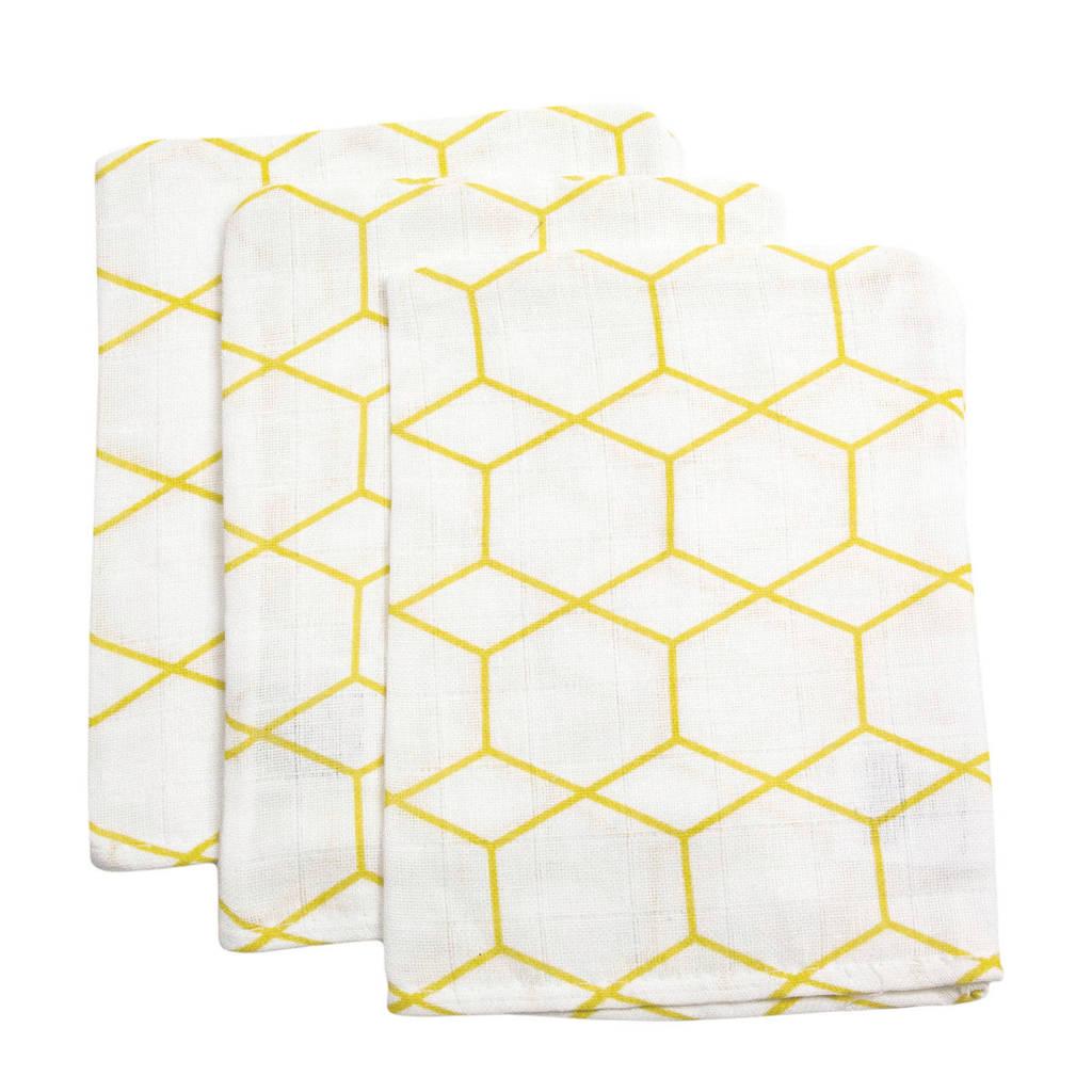 Briljant Baby hydrofiel washandje grid ochre - set van 3, Wit/geel