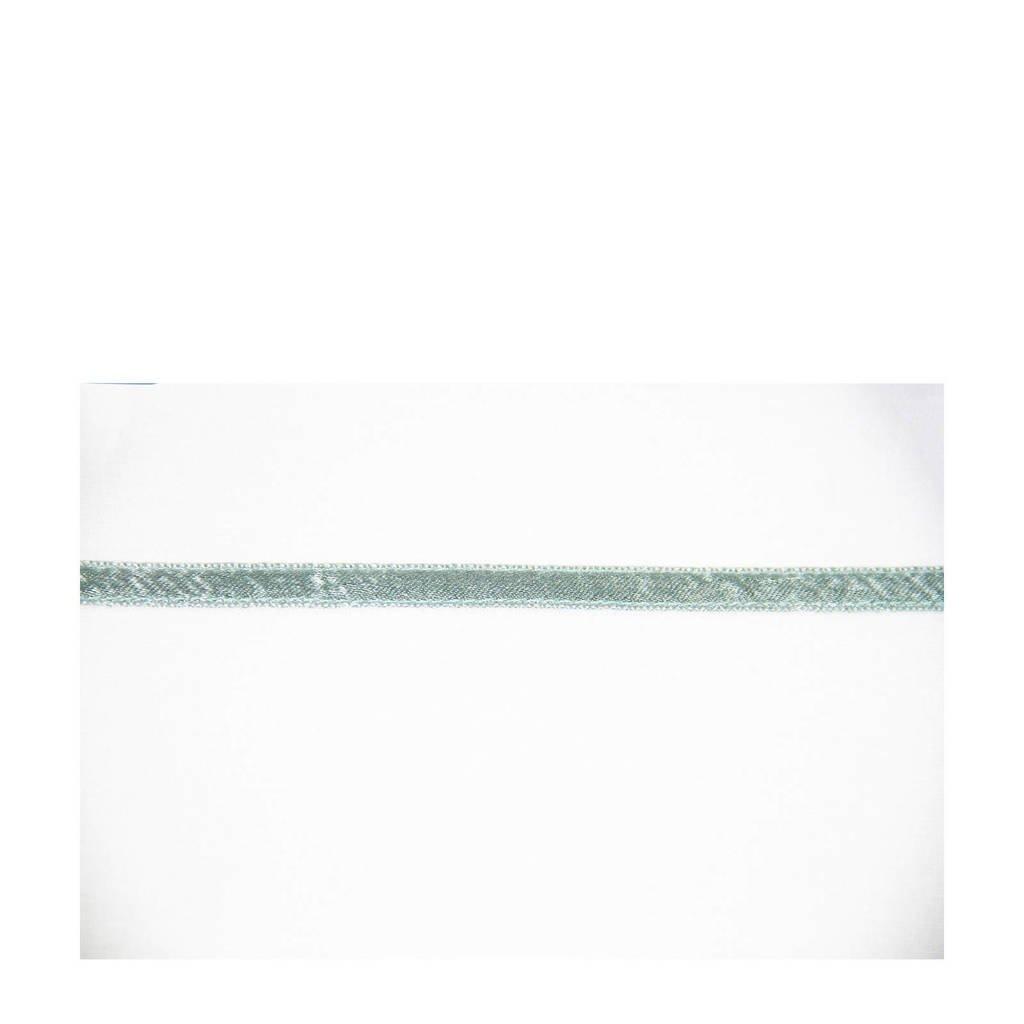Briljant Baby wieglaken geweven stone green uni + bies band, Wit/groen