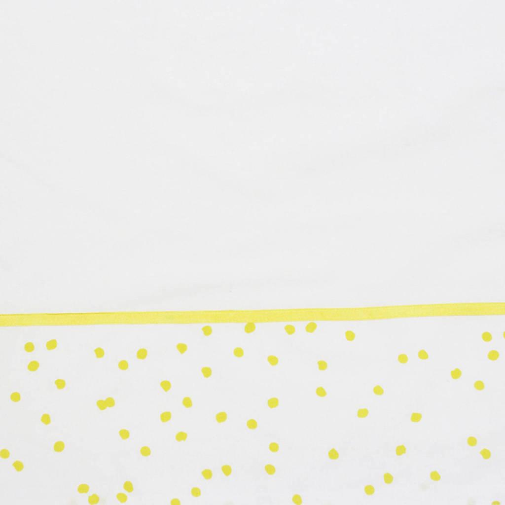 Briljant Baby wieglaken spots ochre bedrukt + bies briljant, Wit/geel