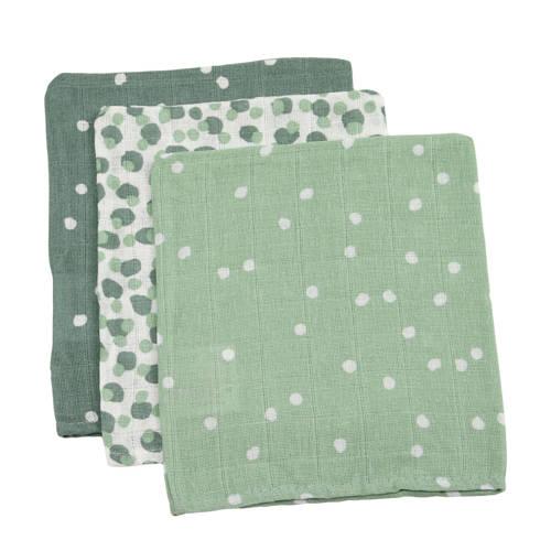 Briljant Baby hydrofiel washandje spots green - set van 3