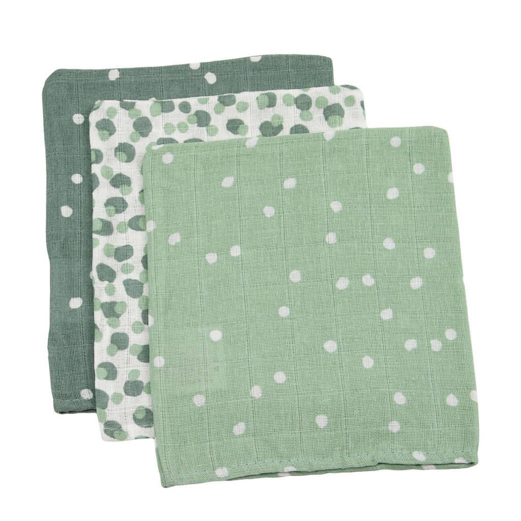 Briljant Baby hydrofiel washandje spots green - set van 3, Groen