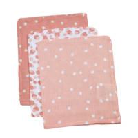 Briljant Baby hydrofiel washandje spots pink set van 3, Roze