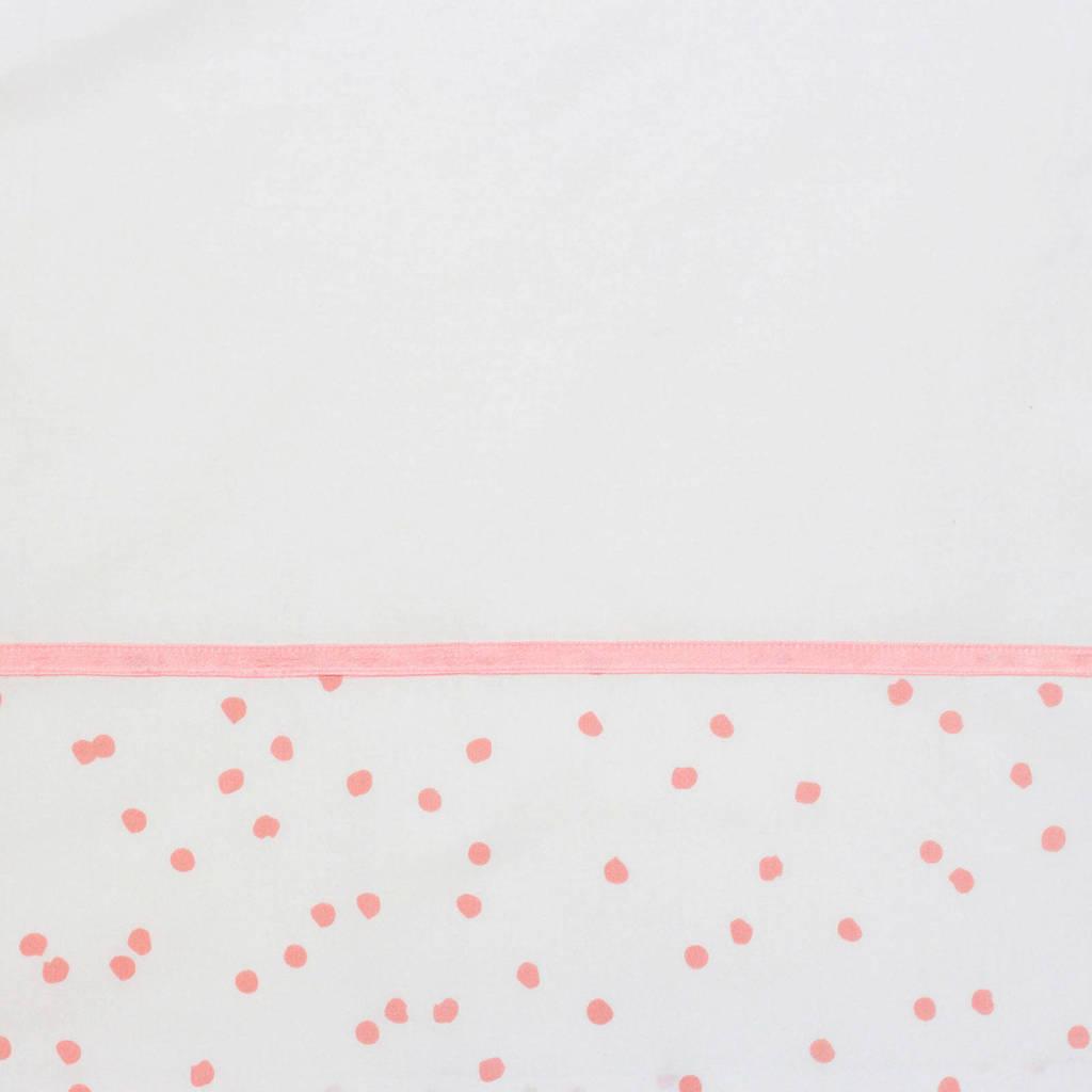 Briljant Baby ledikantlaken spots grey pink bedrukt + bies briljant, Wit/roze