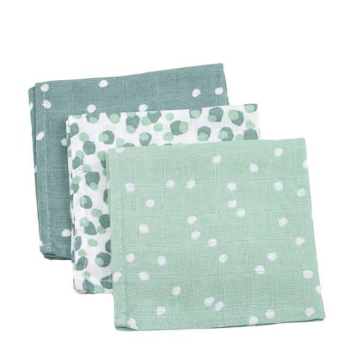 Briljant Baby hydrofiel monddoekje spots green - set van 3
