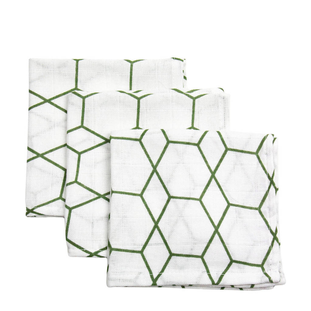 Briljant Baby hydrofiel monddoekje grid forrest - set van 3, Wit/groen