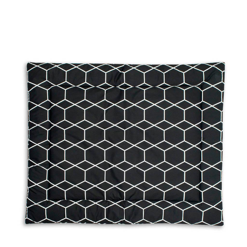 Briljant Baby boxkleed 80x100 cm grid black, Zwart